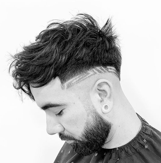 Chunky Textured Long Top with Razor Design And Undercut Hairstyles For Men