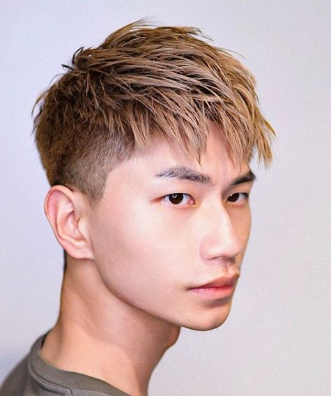 Combed Forward Blonde Undercut Hairstyle For Men