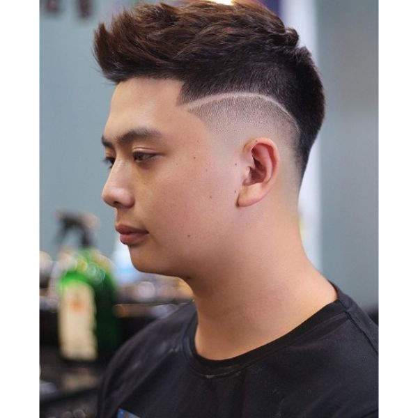 Combed Forward Top with Side Razor Design and Mid Fade