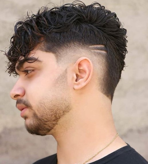 Curly Sleek medium length hairstyles for men with Side Razor Design