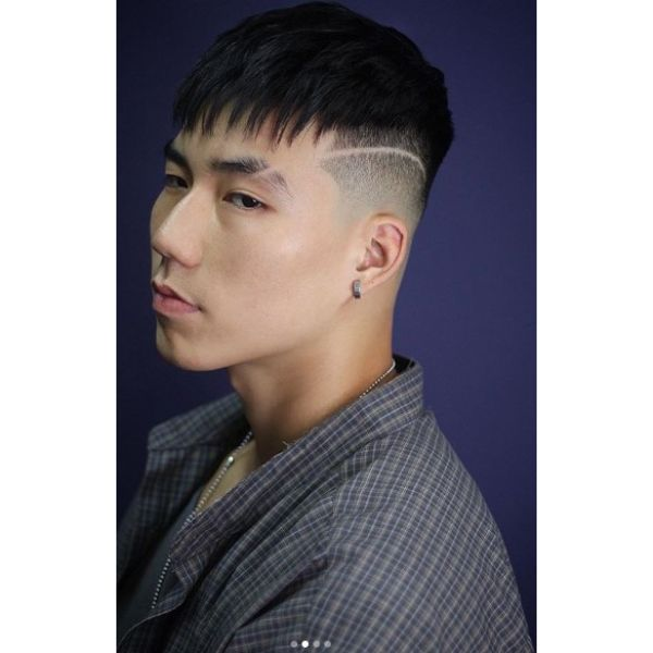 Drop Skin Fade with Side Razor and Spiky Fringe