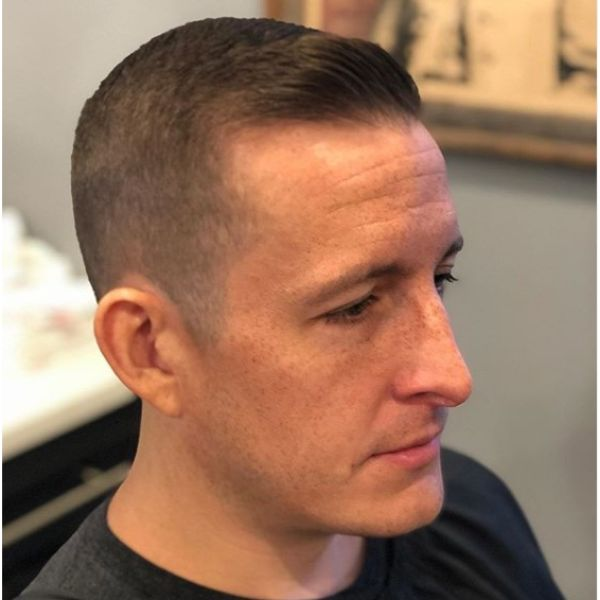 Faded Buzz Cut with Side-swept Front Quiff