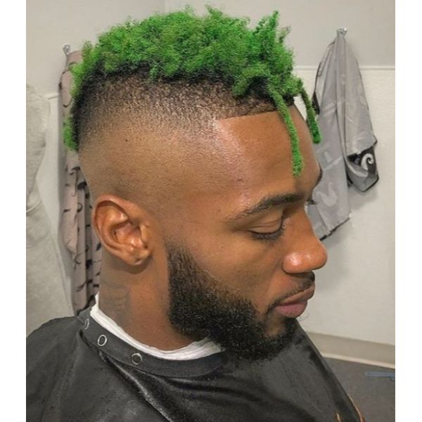 Green Faux Locks with High Fade Hairstyles For Black Men