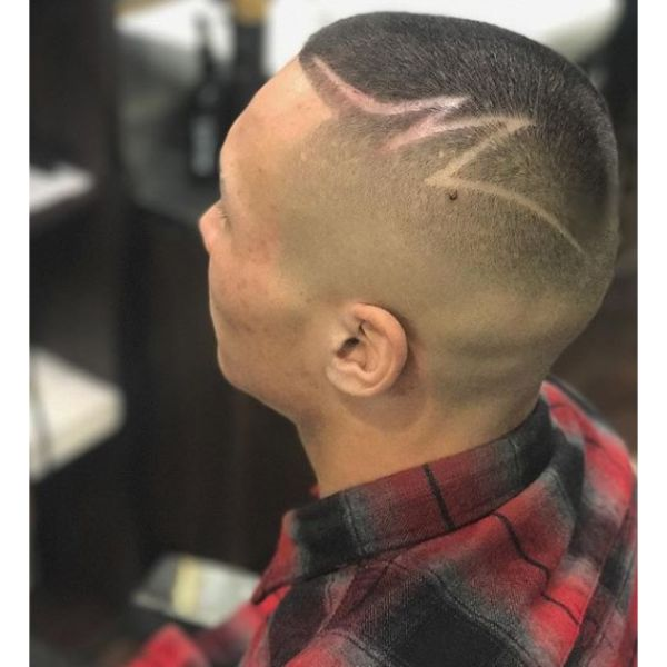 High Fade Buzz Cut with Side Hair Tattoo