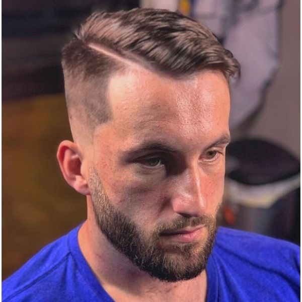High Fade with Combover and Hard Part