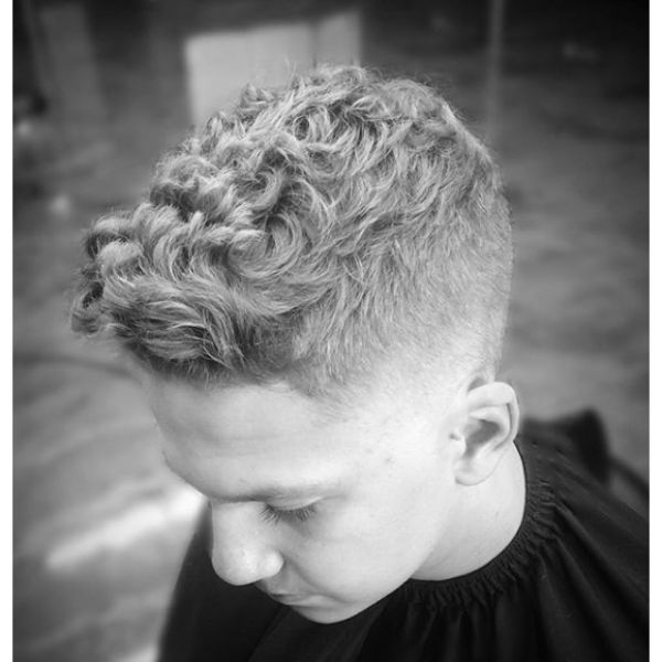 High Fade with Curly Top Short Haircut