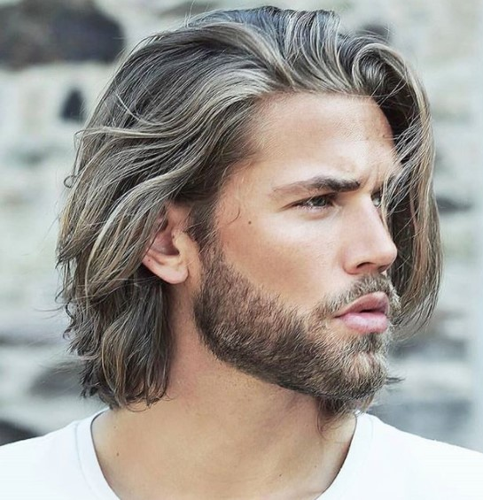 Long Medium length hairstyles for men with Blonde Lights
