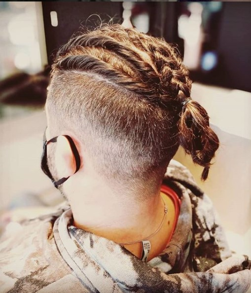 Medium length hairstyles for men With Braids and High Fade