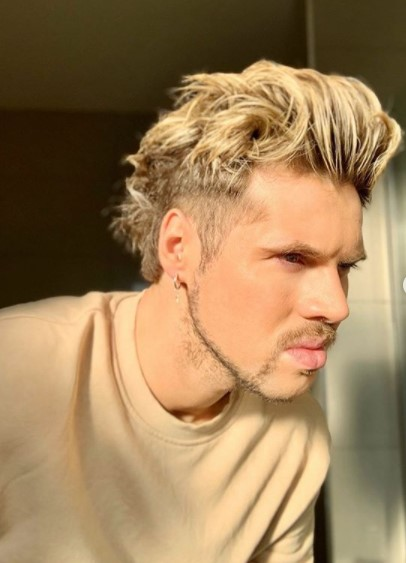 Messy Blonde medium length hairstyles for men with Side Razor Design