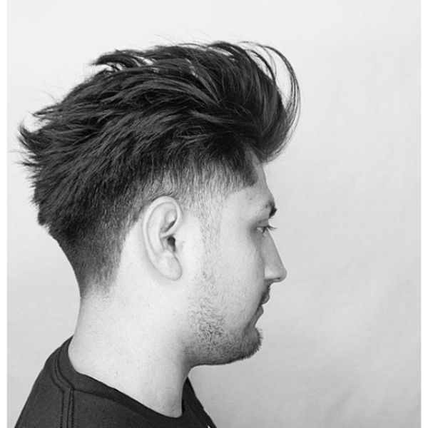 Messy Undone Pomp Hairstyle with Undercut
