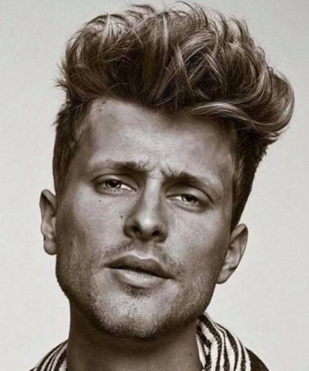 Messy Up-swept medium length hairstyles for men
