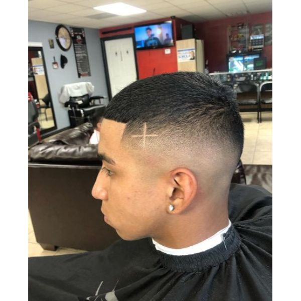 Mid Dropped Fade Buzz Cut with Cross Design