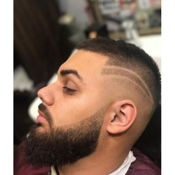 Mid Fade Buzz Cut with Double Side Line