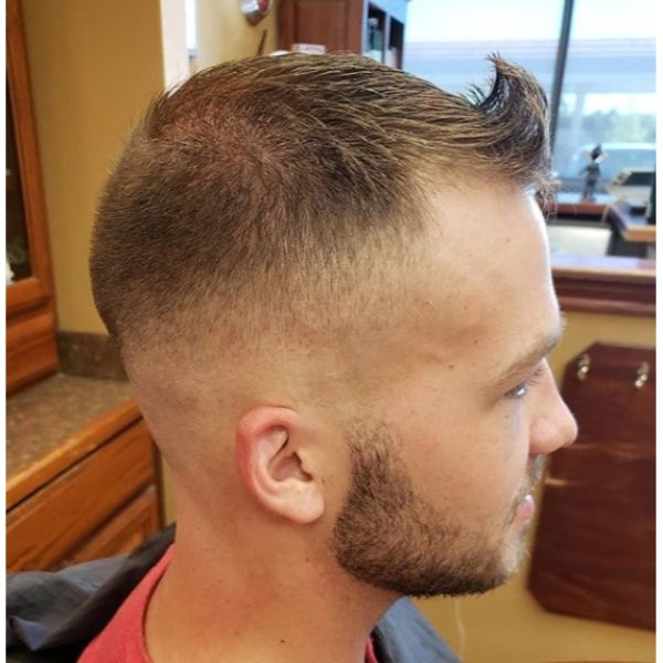 Mid Fade Buzz Cut with Swiped Up Front Quiff