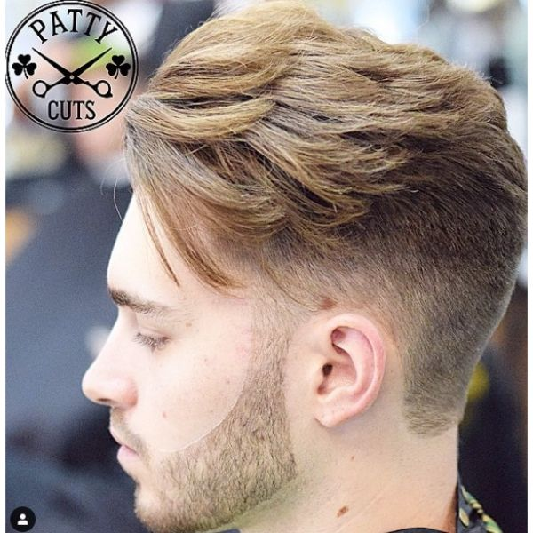 Mid Fade Undercut with Long Layered Blonde Top
