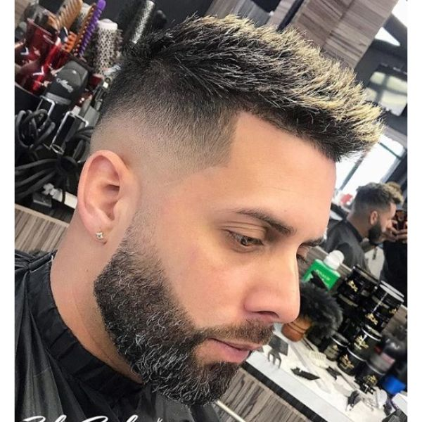 Mid Fade with Frosty Tips Short Haircut