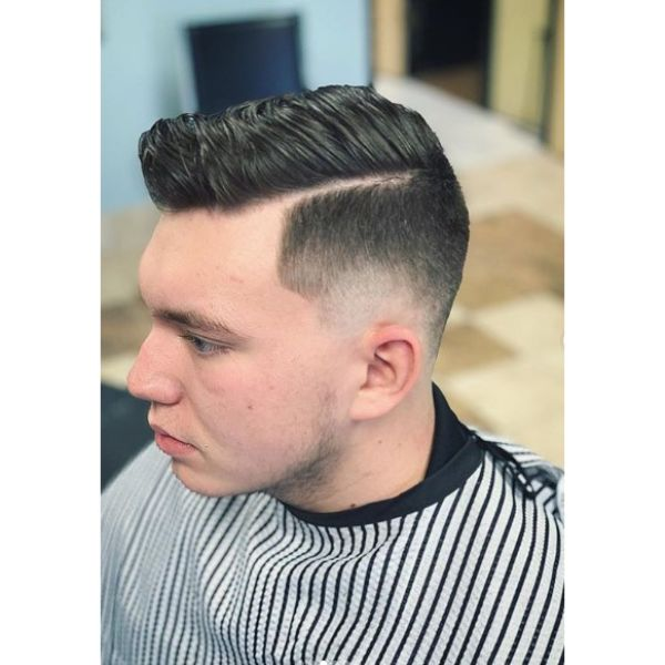 Mid Skin Fade with Combover and Side Part