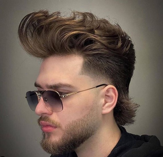 medium length hairstyles for men Mullet Haircut with Up-swept Top