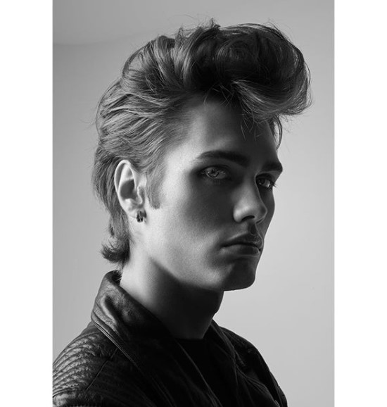 Mullet medium length hairstyles for men with Up-swept Quiff