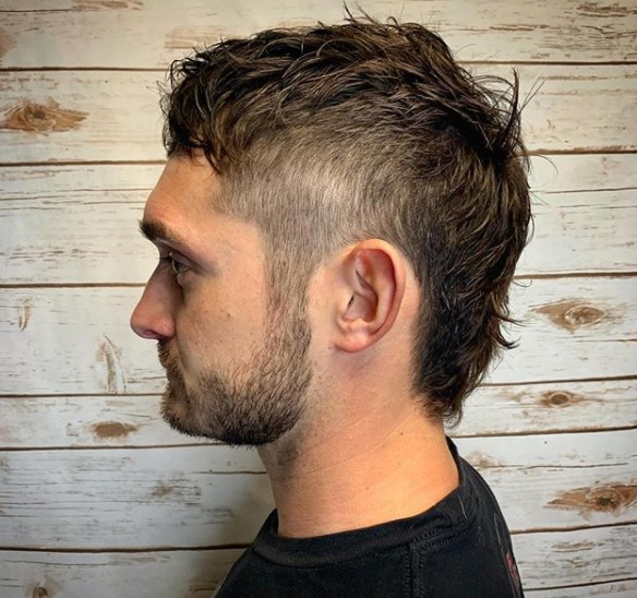 Mullet medium length hairstyles for men With Side Razor Design
