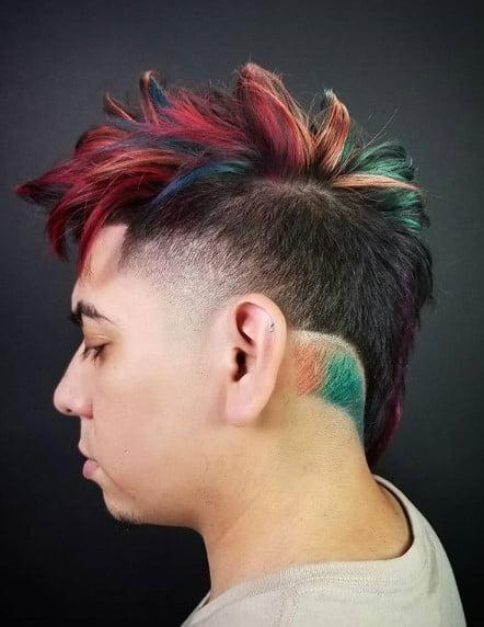 Multicolored Spiky Long Top Undercut with Razor Design