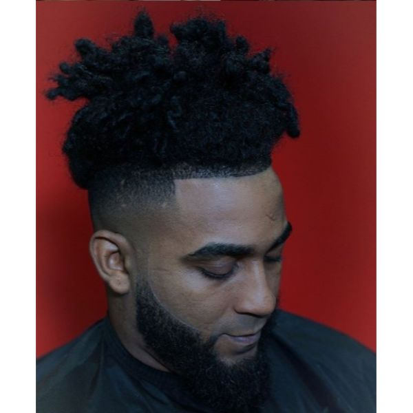 Palm Tree Top Knot with High Fade