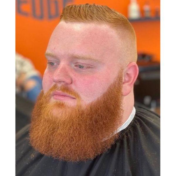 Razor Sharp Ginger Flattop with Massive Beard