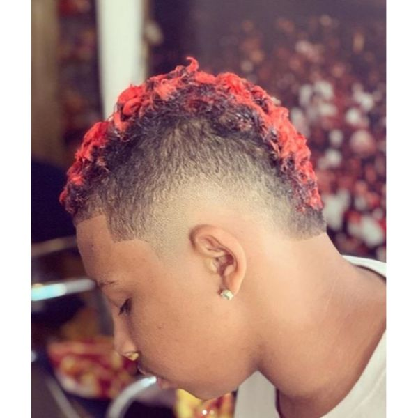 Red Colored Faux Hawk with Mid Fade Short Haircuts For Men