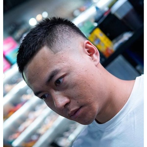 Sharp Fade Loaded Buzz Cut Hairstyle for Men