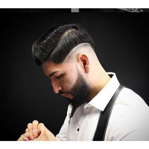 Sharp Fade with Sleek Side Parted Pompadour