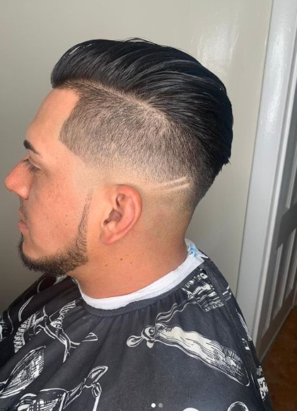 Side-swept Top with Razor Design for Undercut Hairstyle