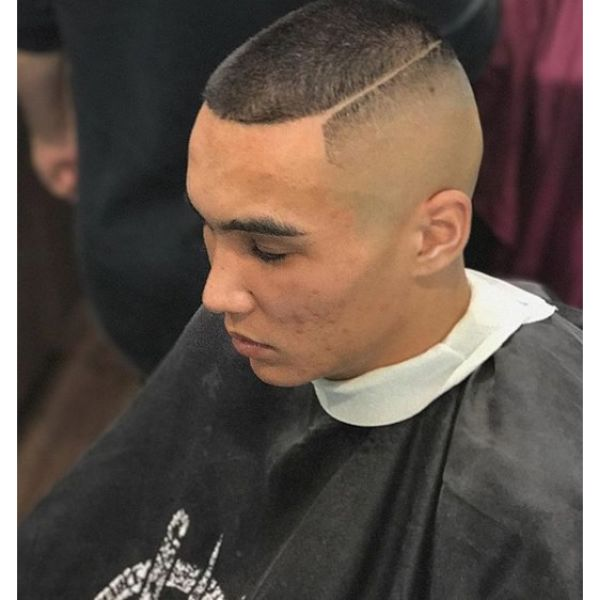 Skin Fade Buzz Cut with Hard Part