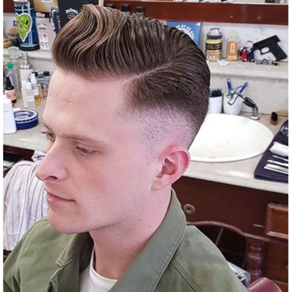 Skin Fade Undercut with Sleek Side Swept Top Hairstyles For Men