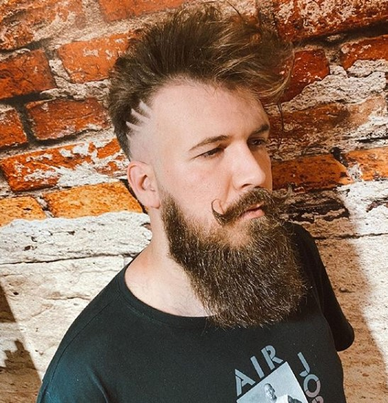 Spiky Faux Hawk With Razor Design and Beard