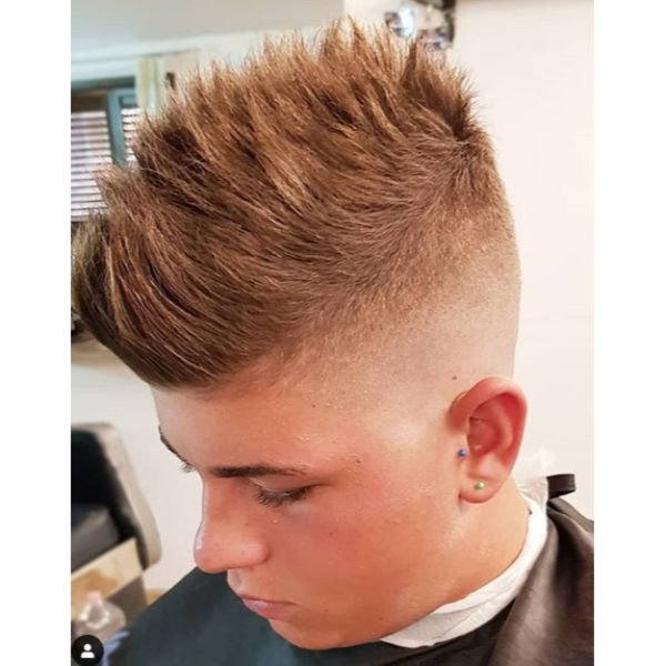 Spiky Faux Hawk with Tight Fade Haircuts For Men