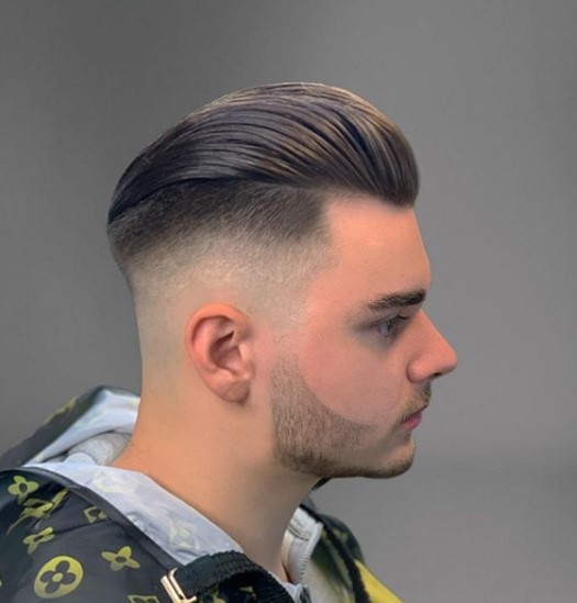 Subtle Purple Undercut with Slicked Back Top Hairstyle