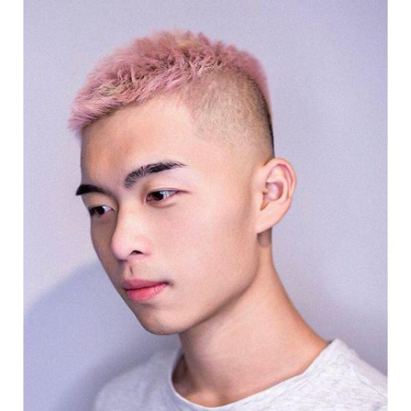 Subtle Undercut with Pale Pink Spiky Top