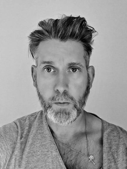 Swept Back Flow medium length hairstyles for men with White Hair