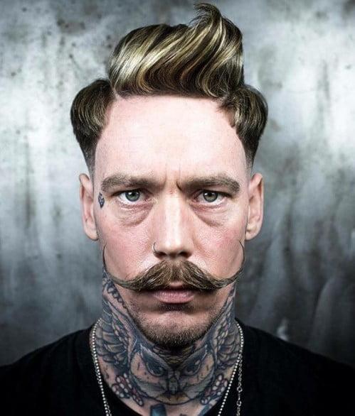 Swirling Top Undercut medium length hairstyles for men