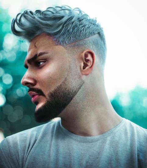 Teal Colored medium length hairstyles for men