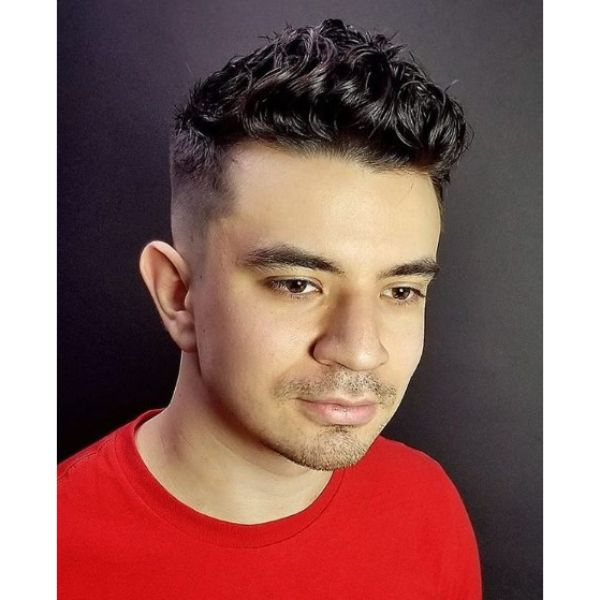 Tight Skin Fade with Curly Shiny Top