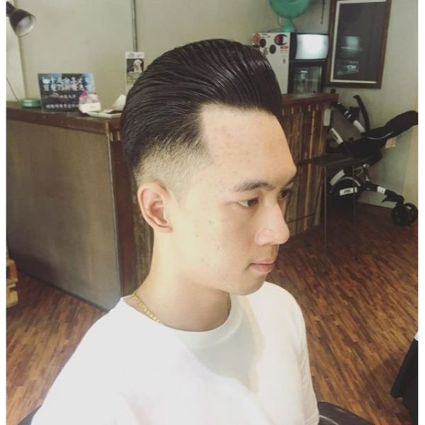 Traditional Pompadour with Mid Fade Short Haircuts For Men