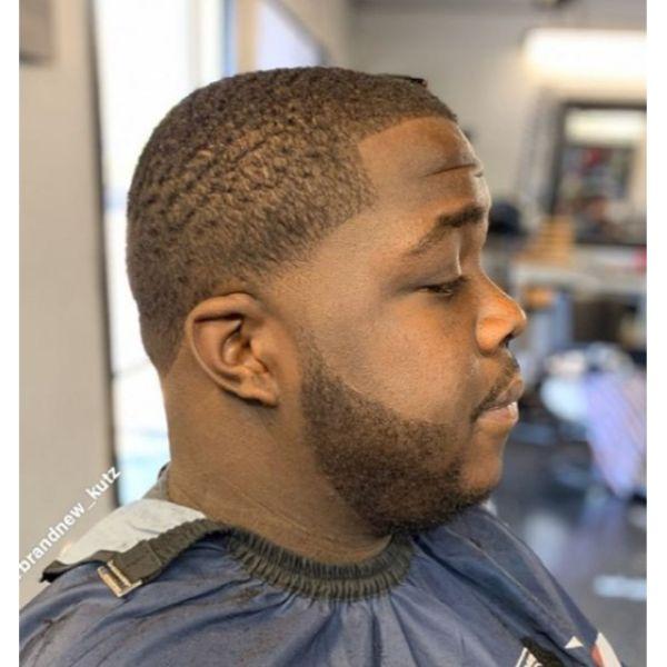 Wave Length Taper Fade Buzz Cut for Black Men