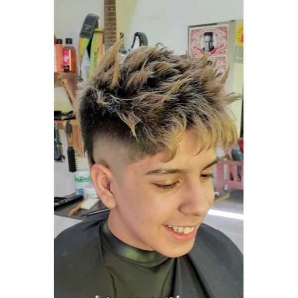 Balayage For Spiky Uneven Top with Bald Fade