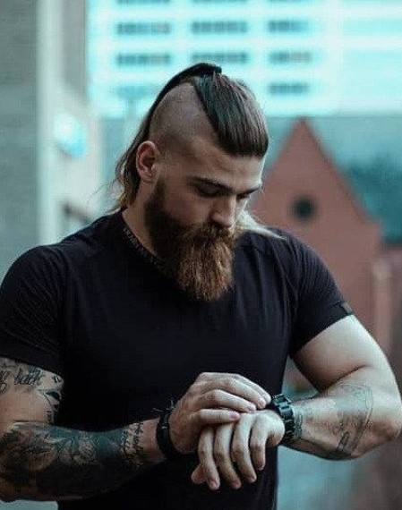 Bald Fade with Long Central Ponytail Viking Hairstyles