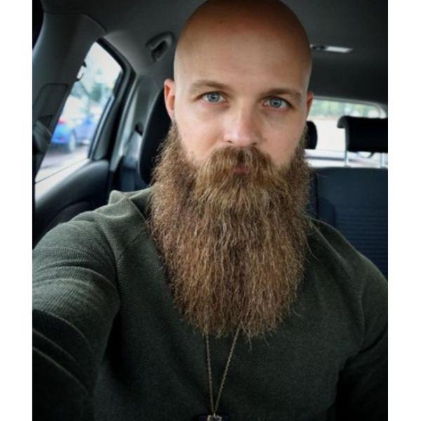 Bald Fade with Massive Beard