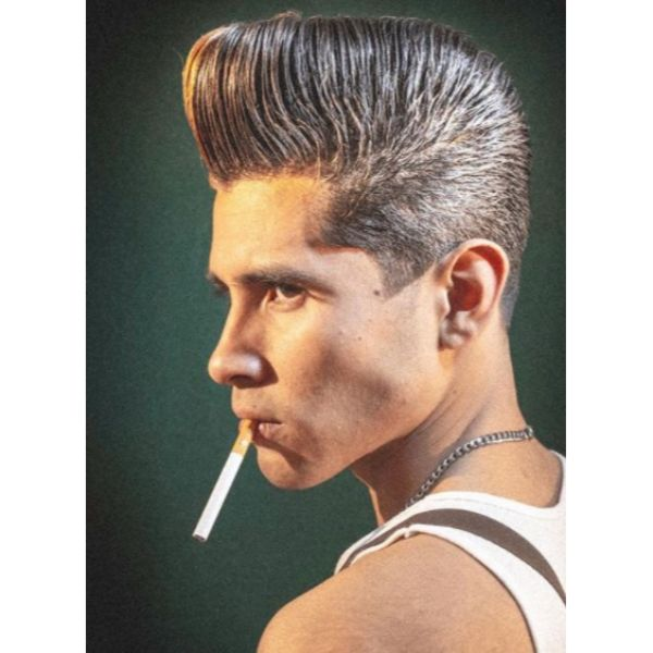 Classic Pompadour with Long Trimmed Hairstyle