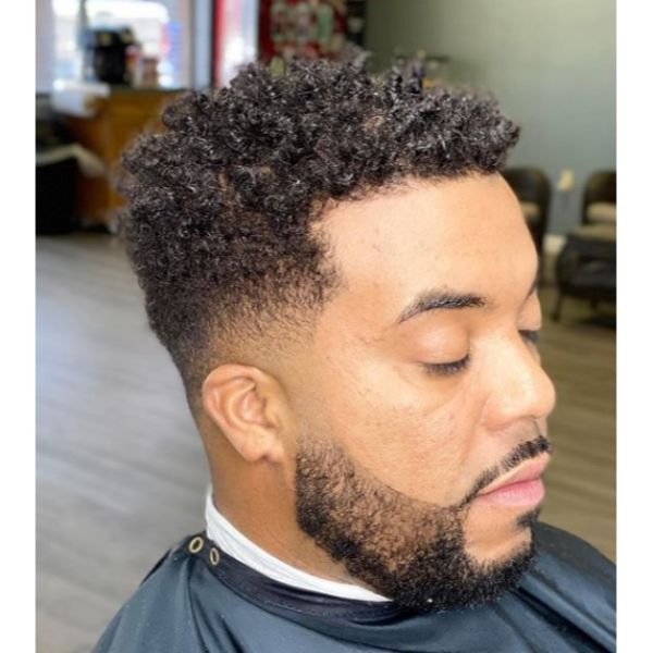 Curly Mid Fade For Men With Thick Hair