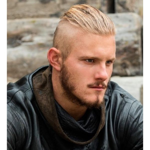 Fine Slick Back Top with Natural Beard Viking Hairstyles