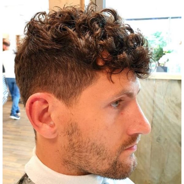French Crop with Curly Top Hairstyles For Men With Thick Hair